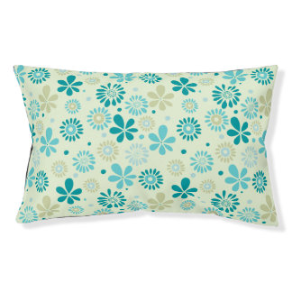 Girly Stylish Teal Blue Daisy Floral Pattern Pet Bed