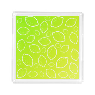 girly summer fresh green yellow lemon pattern acrylic tray