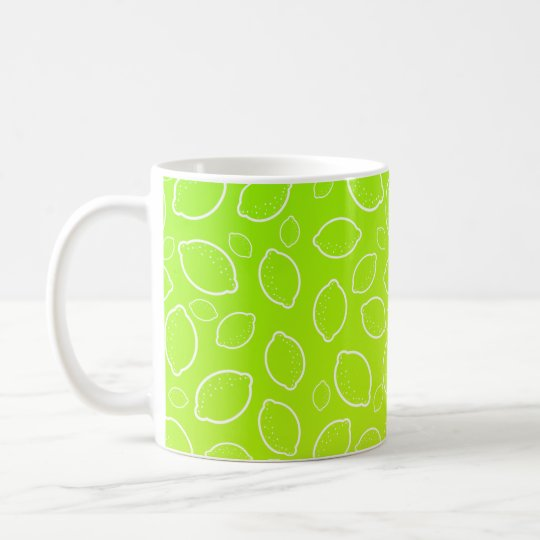 girly summer fresh green yellow lemon pattern coffee