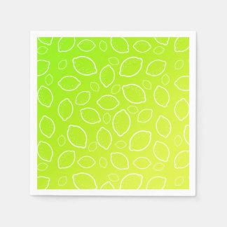 girly summer fresh green yellow lemon pattern disposable serviettes