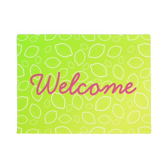 girly summer fresh green yellow lemon pattern doormat