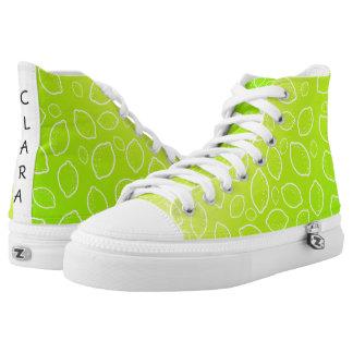 girly summer fresh green yellow lemon pattern high tops