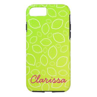 girly summer fresh green yellow lemon pattern iPhone 8/7 case