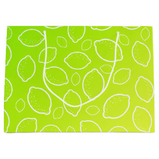 girly summer fresh green yellow lemon pattern large gift bag