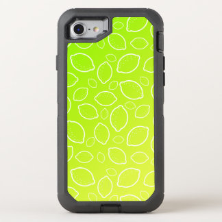girly summer fresh green yellow lemon pattern OtterBox defender iPhone 8/7 case