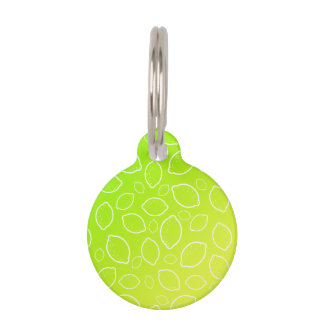 girly summer fresh green yellow lemon pattern pet tag