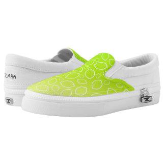 girly summer fresh green yellow lemon pattern slip on shoes