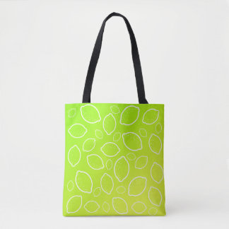 girly summer fresh green yellow lemon pattern tote bag