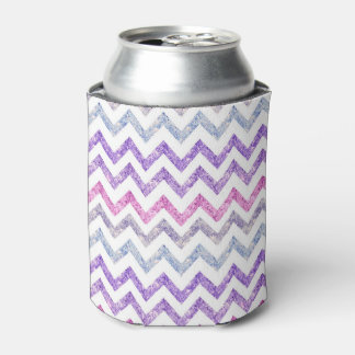 Girly Summer Orchid Purple Pink Glitter Chevron Can Cooler
