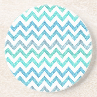 Girly Summer Sea Teal Turquoise Glitter Chevron Coaster