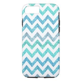Girly Summer Sea Teal Turquoise Glitter Chevron iPhone 8/7 Case