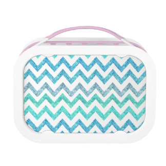 Girly Summer Sea Teal Turquoise Glitter Chevron Lunch Box
