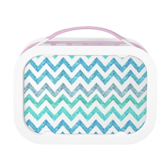 Girly Summer Sea Teal Turquoise Glitter Chevron Lunch