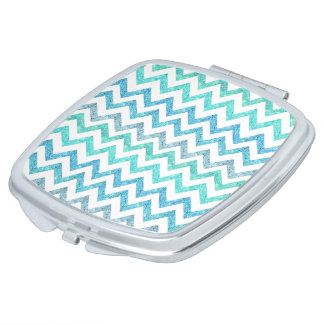 Girly Summer Sea Teal Turquoise Glitter Chevron Mirror For Makeup