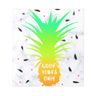girly summer tropical pineapple white marble notepad