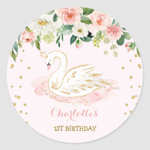 Girly Swan Princess Blush Pink Gold Floral Favours Classic Round Sticker