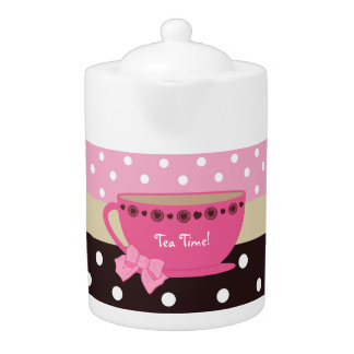Girly Tea Time Teacup Pink and Brown Polka Dot Bow
