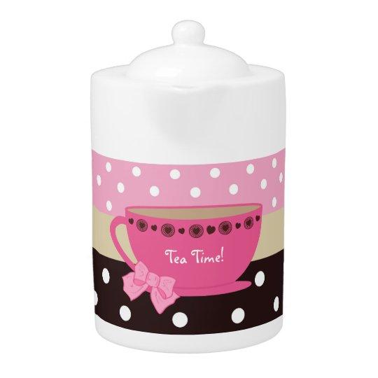 Girly Tea Time Teacup Pink and Brown Polka