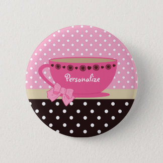 Girly Teacup Pink and Brown Polka Dot Bow and Name 6 Cm Round Badge