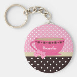 Girly Teacup Pink and Brown Polka Dot Bow and Name Basic Round Button Key Ring