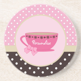 Girly Teacup Pink and Brown Polka Dot Bow and Name Beverage Coaster