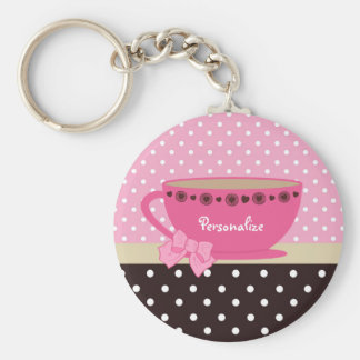 Girly Teacup Pink and Brown Polka Dot Bow and Name Key Ring
