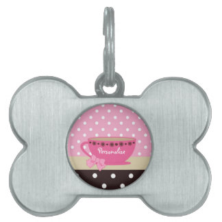 Girly Teacup Pink and Brown Polka Dot Bow and Name Pet ID Tag