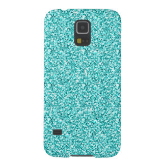 GIRLY TEAL AQUA BLUE GLITTER PRINTED CASES FOR GALAXY S5