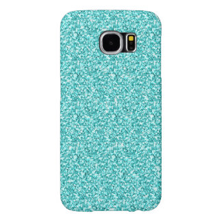 GIRLY TEAL AQUA BLUE GLITTER PRINTED SAMSUNG GALAXY S6 CASES
