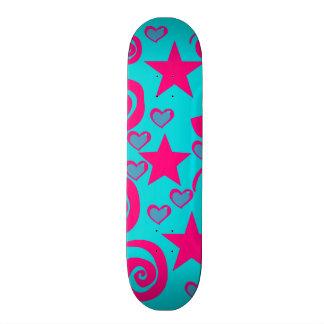 Girly Teal Blue Hot Pink Stars Hearts Swirls Custom Skateboard