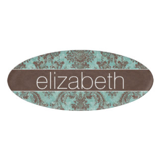 Girly Teal Brown Grungy Damask with Name Name Tag