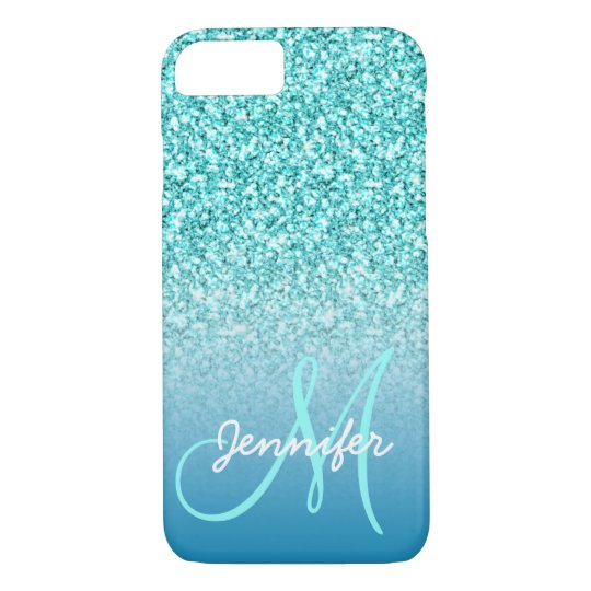 Girly Teal Faux Glitter Monogram Name Personalised iPhone