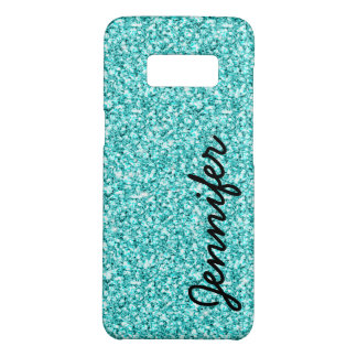 Girly Teal Faux Glitter Name Personalized Monogram Case-Mate Samsung Galaxy S8 Case