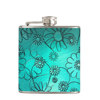 Girly Teal Flower Design Flask