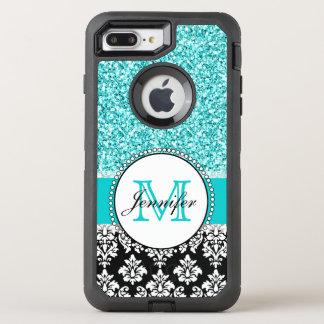 Girly, Teal, Glitter Black Damask OtterBox Defender iPhone 8 Plus/7 Plus Case