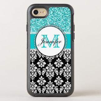 Girly, Teal, Glitter Black Damask OtterBox Symmetry iPhone 8/7 Case