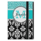 Girly, Teal, Glitter Black Damask Personalised Case For iPad Mini