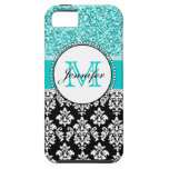 Girly, Teal, Glitter Black Damask Personalised iPhone 5 Covers