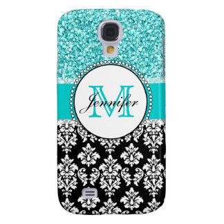Girly, Teal, Glitter Black Damask Personalized Galaxy S4 Case