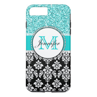 Girly, Teal, Glitter Black Damask Personalized iPhone 8 Plus/7 Plus Case