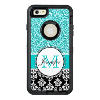 Girly, Teal, Glitter Black Damask Personalized OtterBox iPhone 6/6s Plus Case