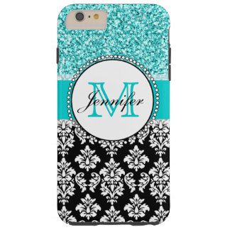 Girly, Teal, Glitter Black Damask Personalized Tough iPhone 6 Plus Case