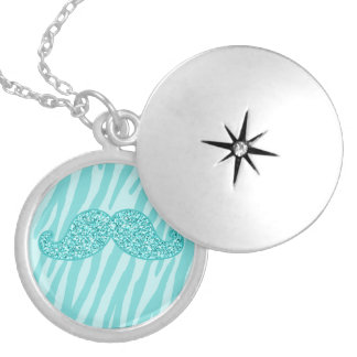 GIRLY TEAL GLITTER MUSTACHE ZEBRA STRIPES LOCKET NECKLACE
