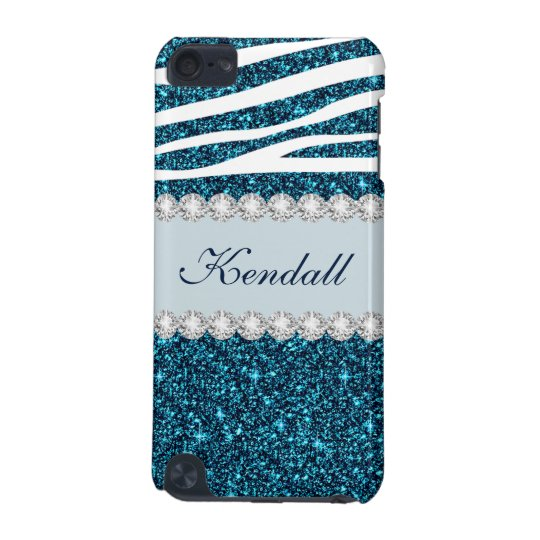 Girly Teal Glitter Zebra Modern 5G iPod Touch