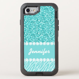 Girly, Teal Glitter, Zebra Stripes OtterBox Defender iPhone 8/7 Case