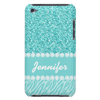 Girly, Teal Glitter, Zebra Stripes Personalized iPod Touch Case-Mate Case
