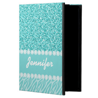 Girly, Teal Glitter, Zebra Stripes Personalized Case For iPad Air
