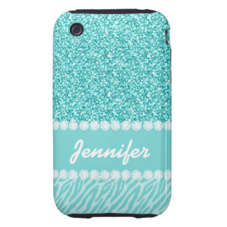 Girly, Teal Glitter, Zebra Stripes Personalized iPhone 3 Tough Cover
