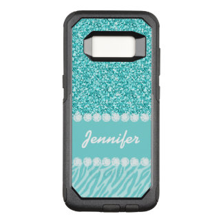 Girly, Teal Glitter, Zebra Stripes Personalized OtterBox Commuter Samsung Galaxy S8 Case