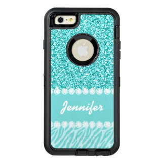 Girly, Teal Glitter, Zebra Stripes Personalized OtterBox Defender iPhone Case